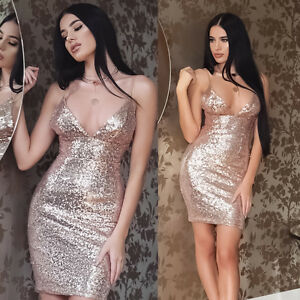 Women-Sequin-V-Neck-Bodycon-Bandage-Evening-Party-Cocktail-Club-Short-Mini-Dress