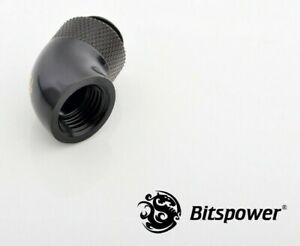 """Bitspower G1//4/"""" Male to Female Extender Fitting 45° Rotary Matte Black New"""