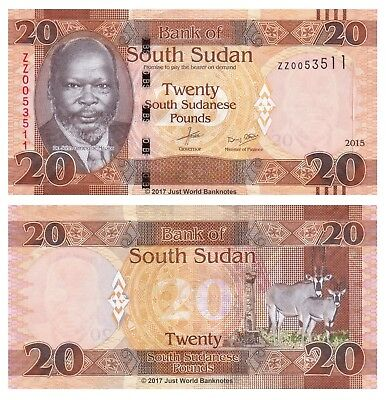 SOUTH SUDAN 20 POUNDS 2016 P 13 a REPLACEMENT ZZ PREFIX UNC