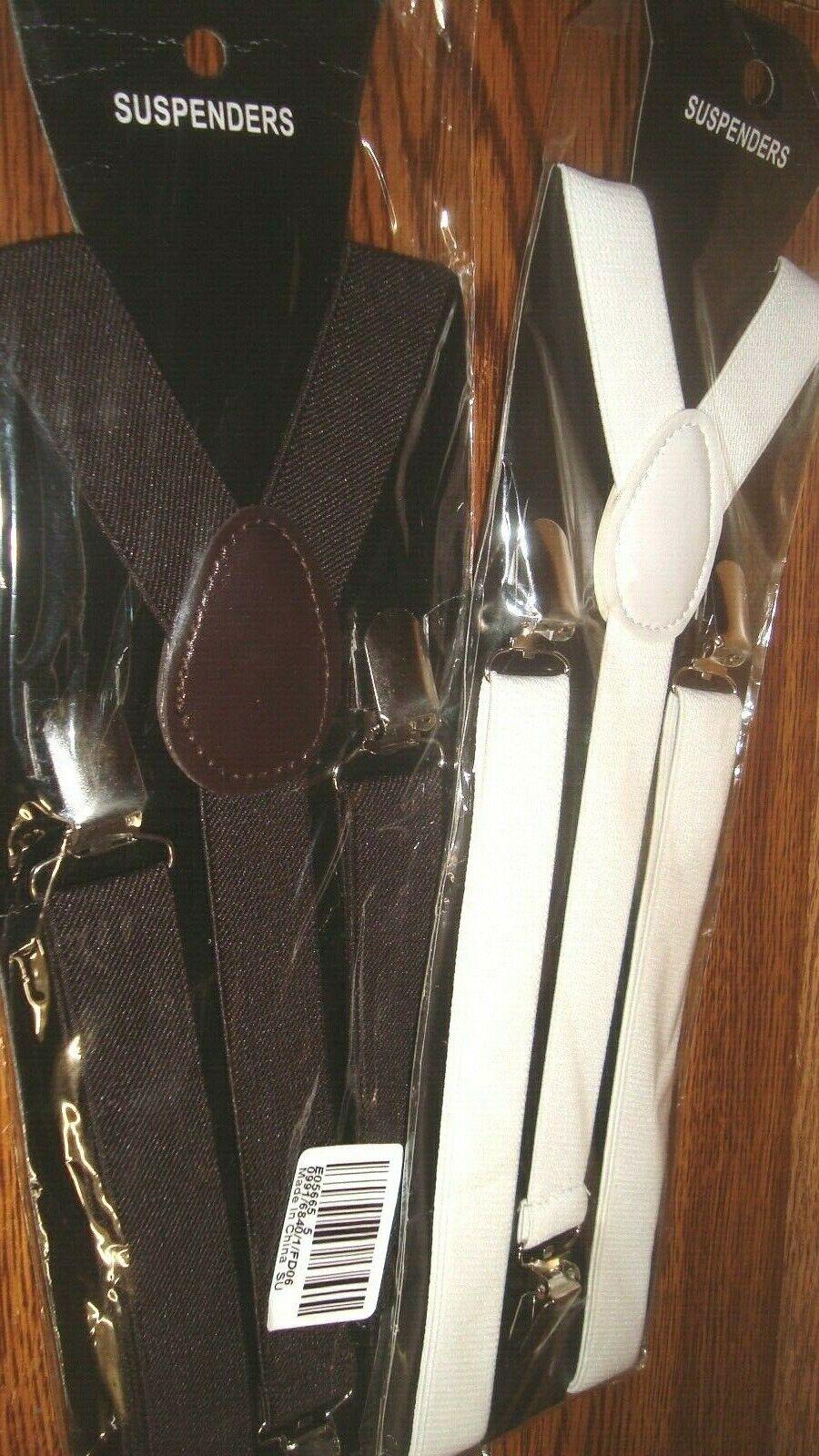 #2 pair 1 BROWN & 1 WHITE Unisex Clip-on elastic Y back Suspenders Adjustable