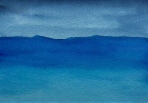 MIDNIGHT-BLUE-SKY-SEASCAPE-Watercolor-ACEO-Painting-2-5-034-x3-5-034-Julia-Garcia-NEW