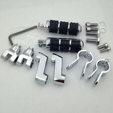 "Chrome Foot Pegs 1"" Clamps For Suzuki Intruder M109R C109R Boulevard M90 S50 M50"
