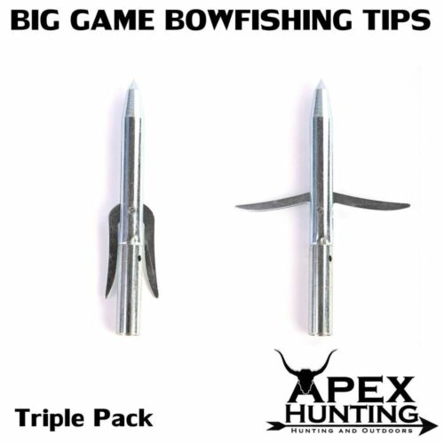 3x BIG GAME BOW FISHING TIP SOLID STAINLESS STEEL ADJUSTABLE BARBS ARCHERY
