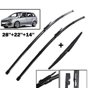 3Pcs-For-Vauxhall-Zafira-B-05-Front-Rear-Windscreen-Wiper-Blades-Set-28-034-22-034-14-034
