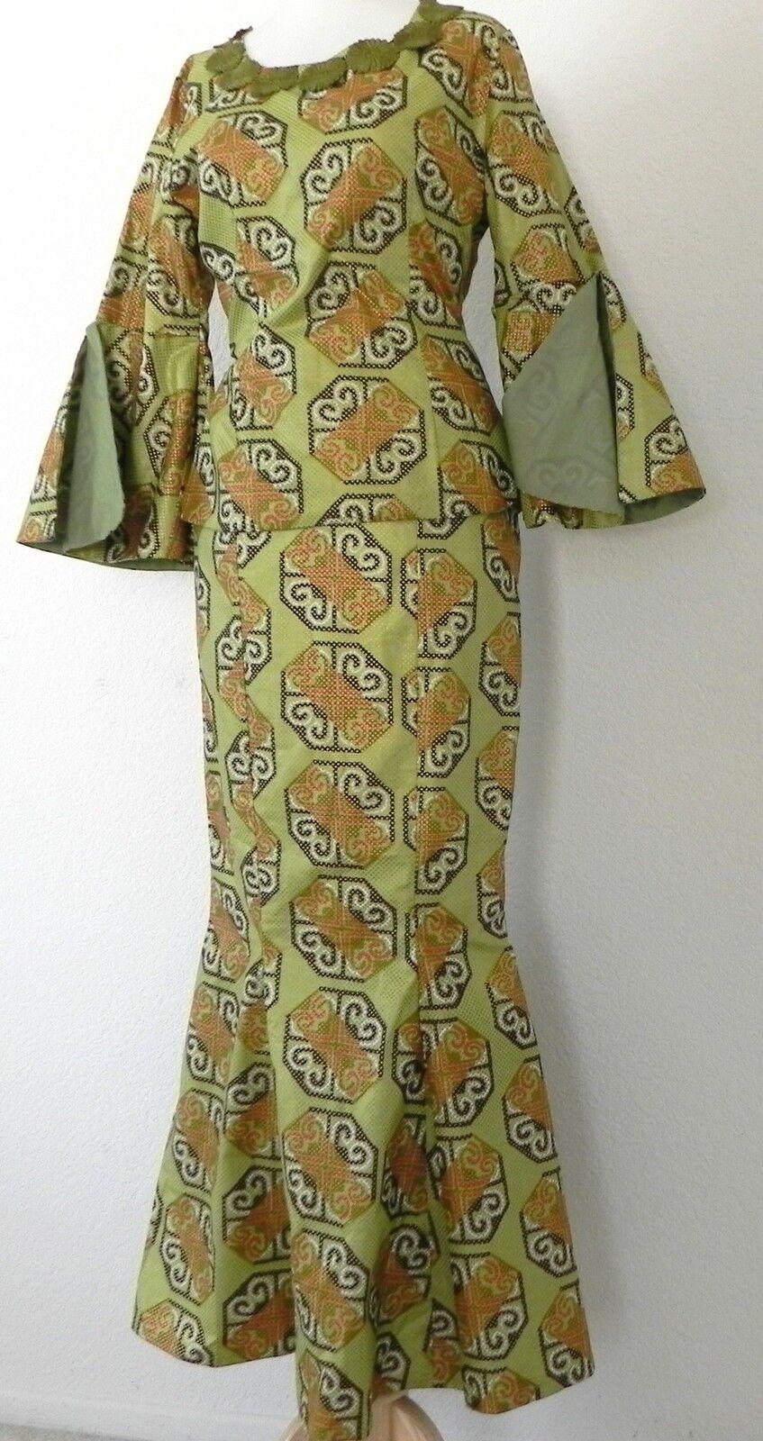 Vtg Hippie Skirt Suit Bell sleeve Top Mermaid Maxi Skirt Size XS S Multicolor