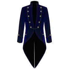 Men's Handmade Blue Jacket Velvet Goth Steampunk Victorian Frock Coat