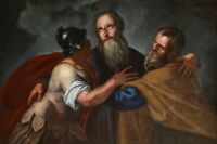 17th CENTURY HUGE FLEMISH OLD MASTER OIL - THE ARRESTATION OF CHRIST - JUDAS