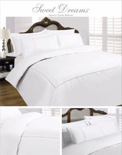 Lace 100/% Cotton Duvet Quilt Bedding Cover White Cream Pillowcase T200 All Sizes