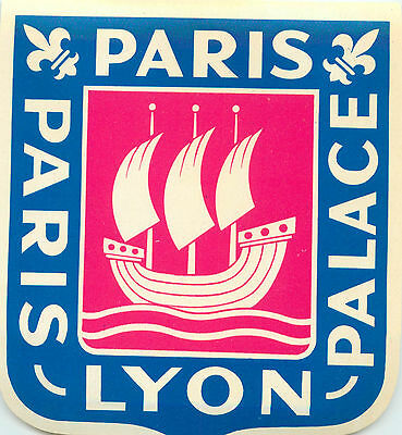 Palace Hotel ~PARIS - LYON / FRANCE~ Great Old Luggage Label