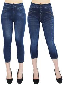 cf7955657f62 Das Bild wird geladen Damen-Capri-Leggings-kurze-Jeggings-Jeans-Optik -Sommer-