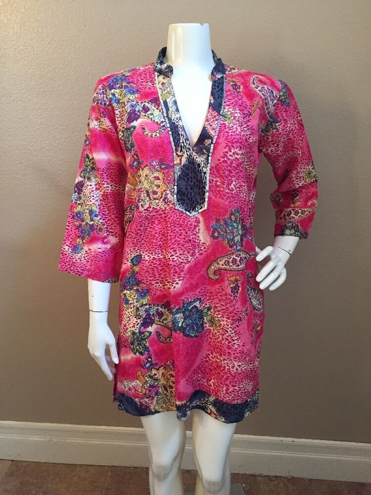 Kareena's NEW  Bright Pink Paisley Sequined Mandarin Collar Tunic Dress Sz L NEW