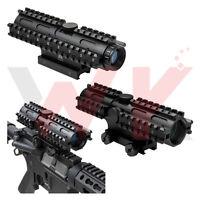 Tactical Rifle Scope 4X32 Tri-Rail Mount P4 Sniper Reticle Weaver Picatinny