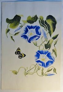 Tolles-Aquarell-von-C-E-Dammann-034-blaue-Wicken-Schmetterling-034-monogrammiert