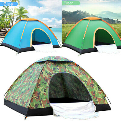 3-4 Person Folding Pop Up Camping Tent Waterproof Room Outdoor Hiking Fishing
