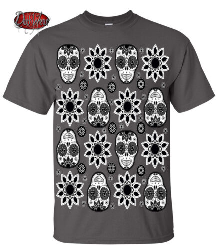 Dark Wear Skull Tattoo Gray T-shirt//Biker//Sugar Skull//Mexican//Halloween//Gift//Top