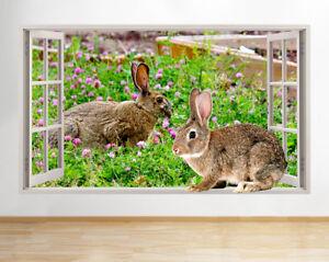 Conejos-G168-Chicas-Flores-animales-pa-pegatina-pared-vinilo-3d-habitacion-ninos