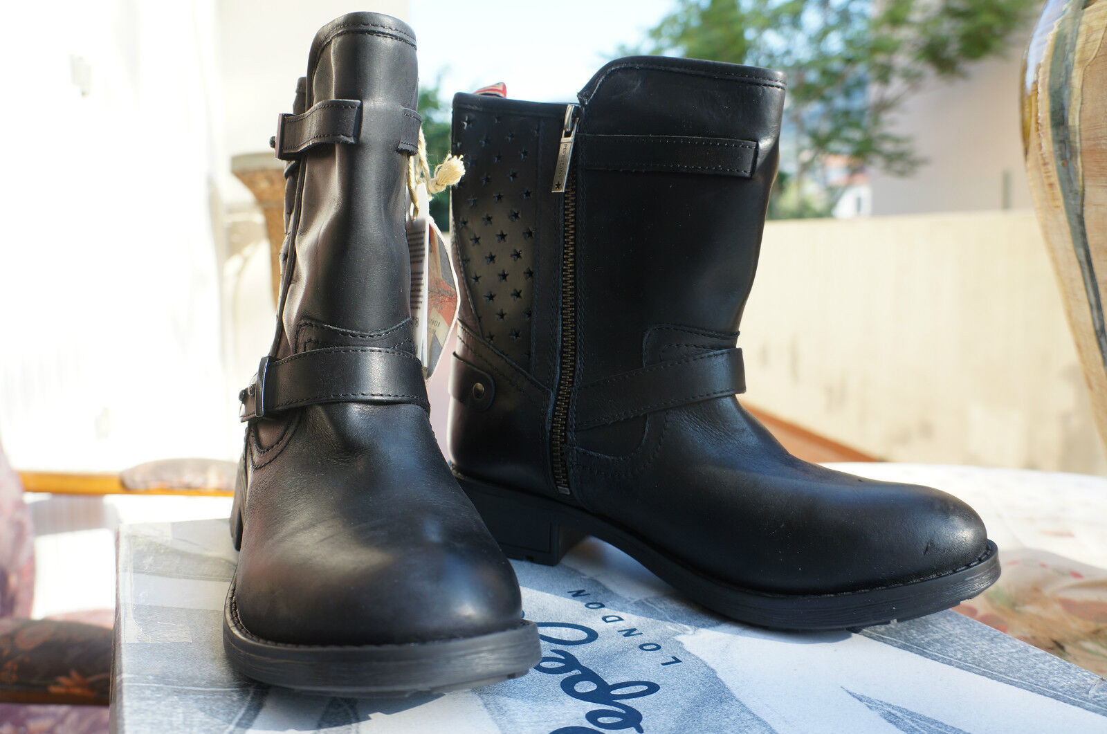 Zapatos especiales con descuento Pepe Jeans London PIMLICO PERFORATIONS, mujer Biker Boots, noir 38 EU -7