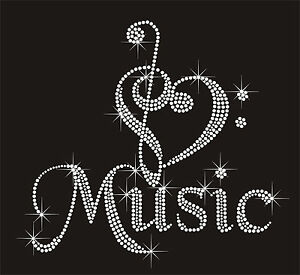 Details about Music RHINESTONE IRON-ON BLING TRANSFER Music Note love DIY  Hot fix Apllique