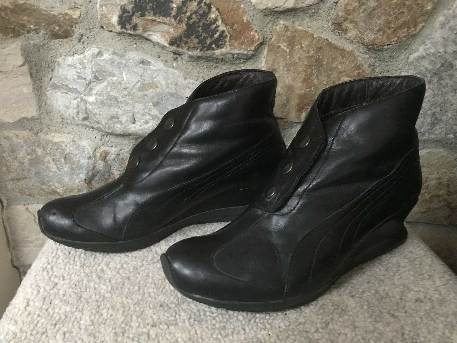 96 Hours PUMA Snap Front BLACK Leather Wedge Ankle Boots Women's Euro 40 US 9