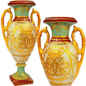 Porzellan Henkelvase Mit Gold-relief Royale Ziervase Kronenzier Vasengefäß Nobel