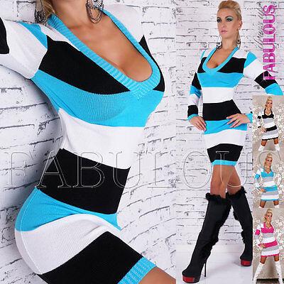 New Sexy Women's Striped Jumper Sweater Knit Mini Dress Knitwear Size 8 10 / S M