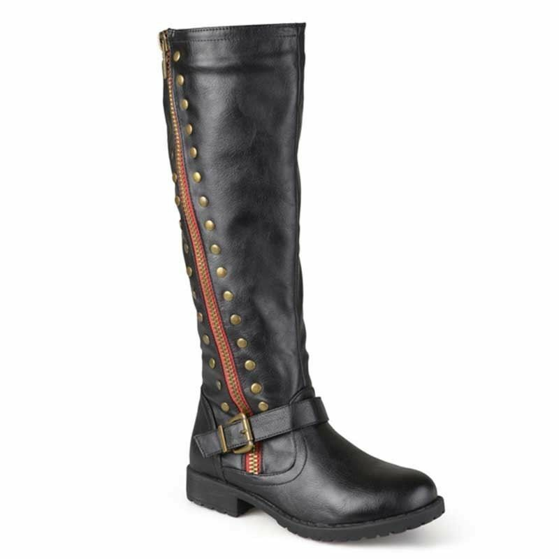 Women Leather Knee High Boots Riding Winter Warm Buckle Rivet Occident shoes