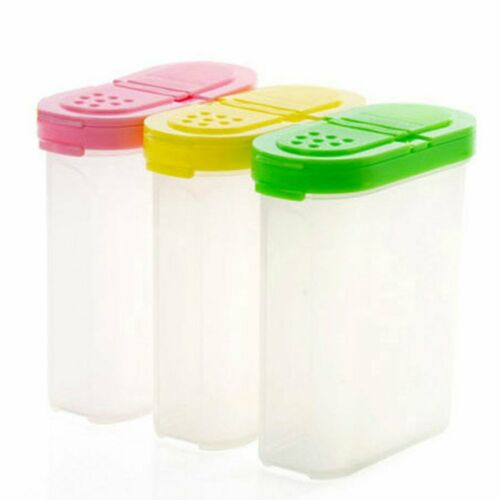 Double Lids Spice Jars Seasoning Condiment Container Case Kitchen oq