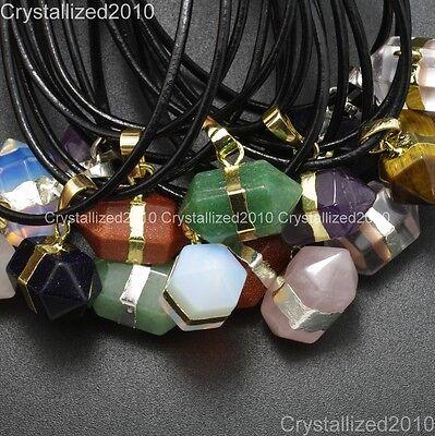 Natural Gemstone Hexagonal Prism Reiki Chakra Bead Pendant Real Leather Necklace