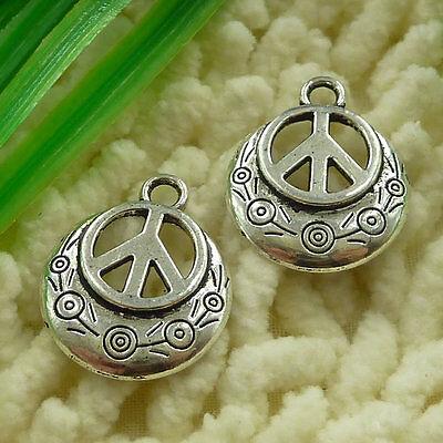 free ship 50 pieces tibetan silver peace symbol charms 24x20mm #3041