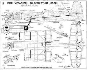 "FROG ATTACKER 50"" SPAN C/L STUNT MODEL plan set"