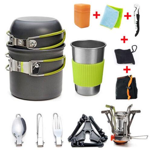 Hiking Picnic Outdoor Portable Gas Camping Stove Butane Propane Burner+Cookware