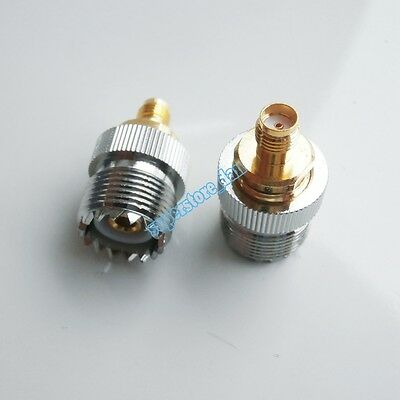 1X New SO239 SO-239 UHF Female to SMA Female RF Cable Connector Straight Adapter