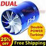 For HONDA Air Intake Dual Fan TURBO Supercharger Turbonator Gas Fuel Saver BLUE