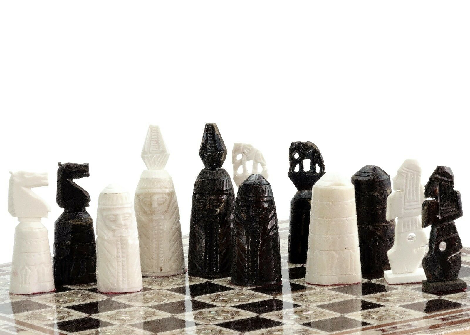 16  Camel bones Handmade Egyptian Mother of Pearl Inlaid Chess Set