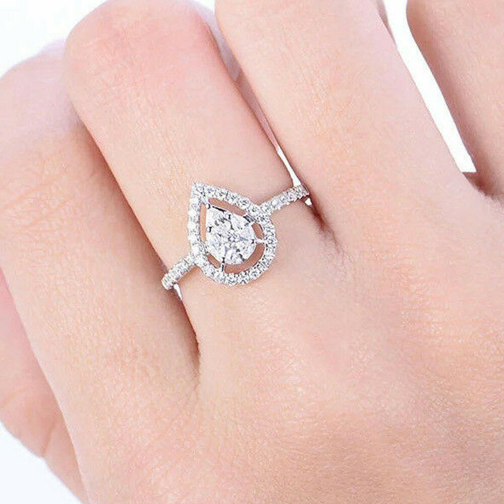 0.75ct Marquise & Round 14k White gold Halo Style Engagement Rings For Women's