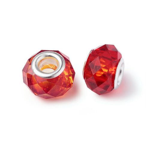 100 Aléatoire à facettes en verre Perles Européen Grand Trou Charms Blotter Spacer 14x8mm