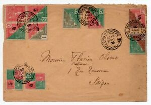 1906-FRANCE-OFFICES-IN-INDO-CHINA-COVER-22-divisee-en-deux-timbres-unique-connue