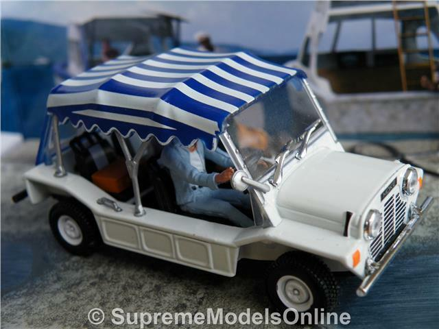 MINI MOKE MODEL CAR 1 43 SCALE WHITE blueE BOND 70'S AUSTIN BMC LEYLAND R0