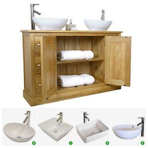 Double Vanity Unit Solid Oak Bathroom Cabinet Twin Ceramic Sink Basin Taps