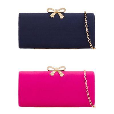 Ladies Suede Style Box Clutch Bag Evening Bridal Wedding Handbag Purse KZ672