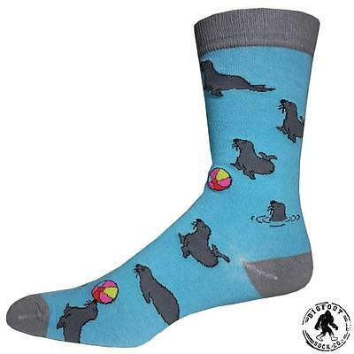 Seal Volleyball Socks Fun Novelty One Size Fits Most Dress Casual Big Foot Blue