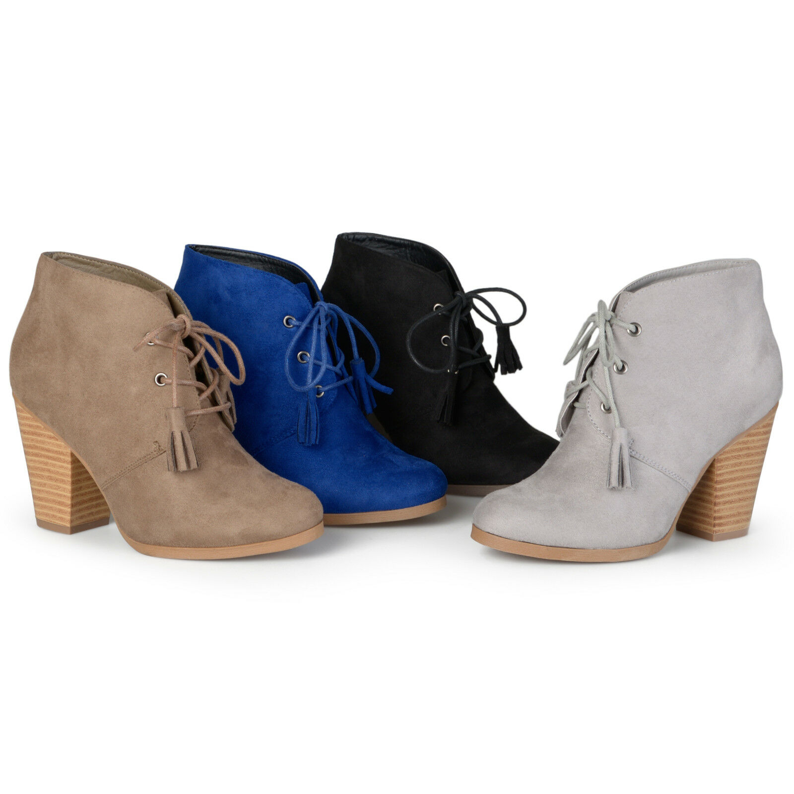 Journee Collection Womens Chunky Heel Lace up Faux Suede Ankle Booties New