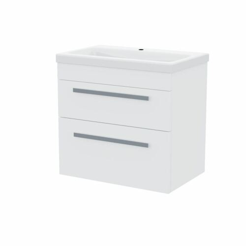 Gloss White 600MM Wall Hung 2 Drawer Vanity Unit Cabinet with Ceramic Sink Basin