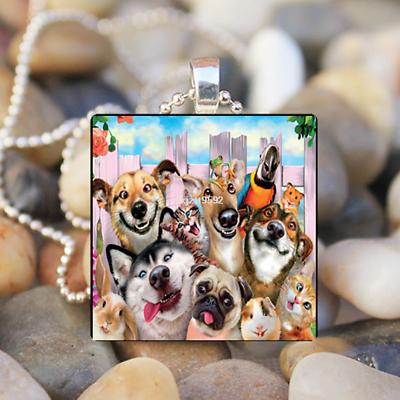 Animal hummingbird Cabochon Glass Tile Ball Chain Pendant Necklace Art gift