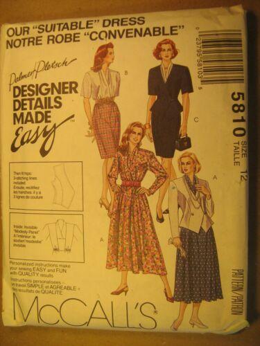 "UNCUT Sewing Pattern 1992 McCALL/'S 10,12,14,24 /""Suitable/"" DRESS 5810 Z180"