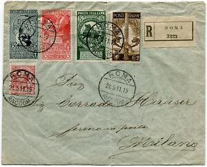 1911-Cinquantenario-dell-039-Unita-d-039-Italia-Serie-Completa-su-Busta-RACCOMANDATA-VG