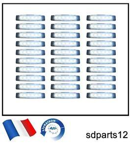 20 X Blanc 12 Volts 6 Led Feux De Gabarit Camion Caravane Chassis Remorques