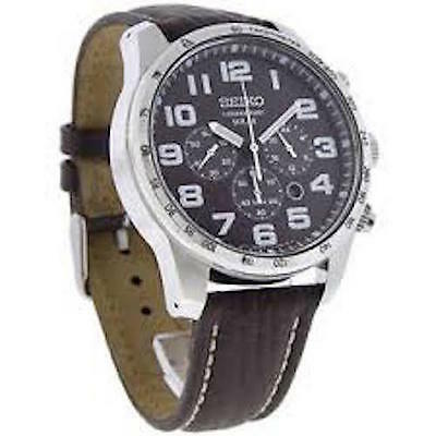 Seiko Easy to Read Chronograph Solar Battery Watch Brown Leather Men's SSC227