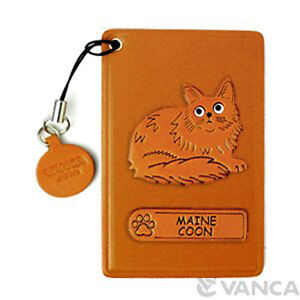Maine Coon Handmade Cat 3D Leather Commuter ID Metro Pass Card HolderVANCA 26433