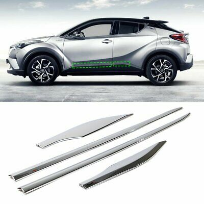 New 4pcs Chrome Side Door Body Molding Cover Trim For Toyota C-HR 2017 2018